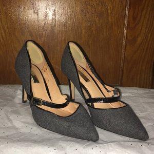 Halogen Women's Gray Fabric with Black Heel